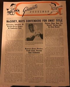1963 SAN FRANCISCO Giants Jottings NEWSLETTER Willie McCovey WILLIE MAYS Gold