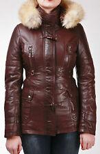 Chestnut Brown Hooded Fur Ladies Real Lambskin Nappa Leather Duffle Jacket Coat