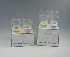 Lot of 8 Portmeirion Glass Options-Multi Color Highballs&Dbl Old Fashioneds Mib