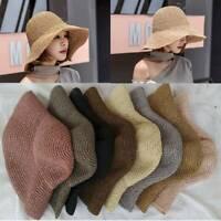 Women Handmade  Straw Hat Summer Sunscreen Flodable Sunhat Beach Caps Fashion