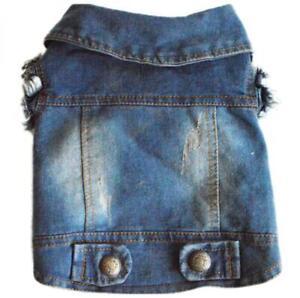 Blue Denim Dog Coat Vest Cowboy Medium Small Dogs Pets Jackets Apparel Clothes