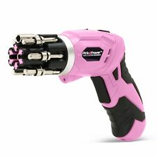 Pink Power 3.6 Volt Cordless Rechargeable Electric Screwdriver Set Bubble Level