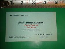 ZU075 Vintage Business Card Gus. Bergstrom Custom Pants & Vest Makers Chicago IL