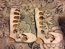 NEW CHLOE BEIGE NUDE SUEDE HIGH LACE UP SANDALS GLADIATOR HTF SIZE 38 8 $1370