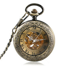 Bronze Vintage Roman Numbers Automatic Mechanical Self Wind Pocket Watch Chain