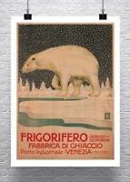Polar Bear Vintage Italian Advertising Poster Canvas Giclee Print 24x32 in.