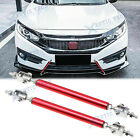 "Red Adjust Front Bumper Lip Splitter Strut Rod Tie Support Bars For Honda 8""-11"""