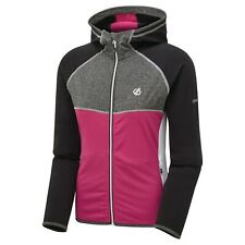 Dare 2b Damen höflich II Full Zip Kapuzen Stretch Midlayer schwarz und pink