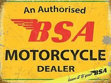 BSA Motorcycle Dealer pequeña placa de acero  200mm x 150mm  (og)
