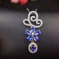 """14k White Gold Over Tanzanite & Diamond 2.90Ct Design Pendant 18"""" Chain Necklace"""