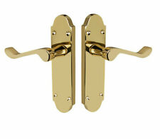 Shaped Scroll Polished Brass door handle pair 168mm x 42mm