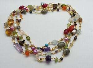 Natural Gemstone Multi Stone Beads Rosary Chain 22K Gold Necklace 50 Inch Long