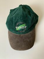 Vintage 90s SPECIAL FENDT CLOTHING green corduroy Hat Cap leather peak one size