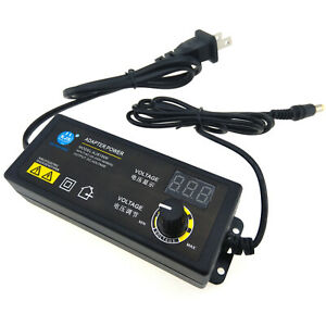 DC 3V to 24V  Adjustable Power Supply Adapter 2.5A 60W LCD Display 2-pin US Cord