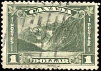 Used Canada 1930 F-VF Scott #177 $1.00 King George V Arch/Leaf Stamp