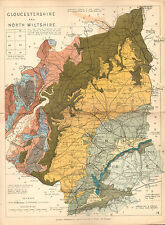 1889 HAND COLOURED GEOLOGICAL MAP ~ GLOUCESTERSHIRE & NORTH WILTSHIRE FOSSILS