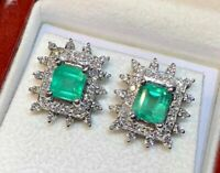 3.42 ct Green Emerald & Diamond Halo Earring Stud 18kt White Gold Over