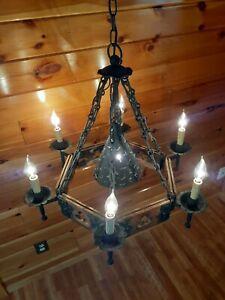 Antique /Vtg Arts Crafts Gothic Ceiling Chandelier Light, Spanish, Medieval