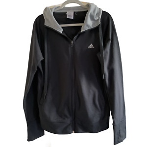 ADIDAS CLIMALITE Ladies HOODIE UK Plus Size 18 Black Logo R4