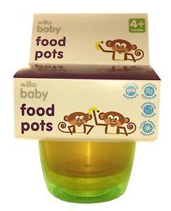 6 x Wilko Baby food pots - Various Colours -85oz..