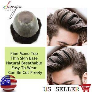 Thin Skin Mens Toupee Human Hairpiece Handtied Light Density Mono Hair Systems