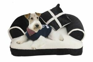 Luxury Dog Sofa Beds With Pillow Soft Fleece Warm Pet Cat Bed Detachable To Wash