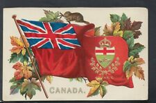 Canada Embossed Postcard - Patriotic Flags - Ontario - Coats of Arms  RS20780