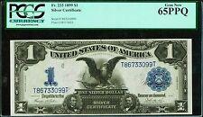 "1899  $1 SILVER CERTIFICATE BLACK EAGLE FR#233 ""GEM NEW"" CERTIFIED PCGS-65-PPQ"
