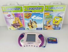 Leap Frog Leapster 2 Learning System Pink Purple 4 Games Cars Spongebob Tangled