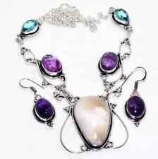 Scolecite Amethyst Blue Topaz 925 Silver Plated Necklace Earrings Set GW