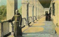 DB Postcard CA J270 Santa Barbara Mission Arches Walkway Friars Monks Priests