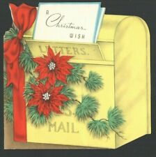 Vintage Christmas Card Yellow Mailbox Red Poinsettias A Christmas Wish
