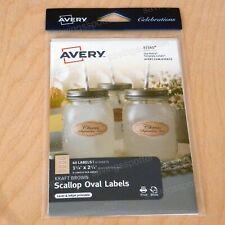 Avery Celebrations Kraft Brown Scallop Oval Labels 1 18x2 14 Printwrite 40pk