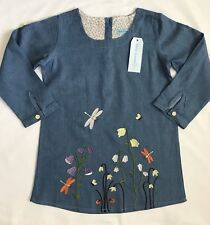NEW Toddler Girls Size 5T Light Denim Casual Style Dress With Cute Embroidery
