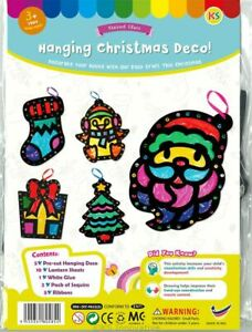 Christmas Stained Glass Hanging Decorations Craft Kit Makes 5
