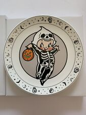 "NIB Sourpuss Halloween Skeleton Costume Kewpie 9"" Dinner Plate Dish Cupie"
