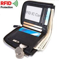 Hombres NegociosCartera Billetera de cuero Tarjeta de crédito Monedero RFIDNue