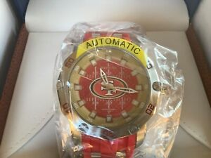 Invicta Men 50mm Automatic NFL OFFICIAL San Francisco 49ers Silicone Strp Watch