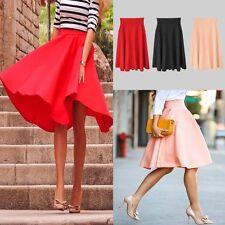 Women Flared Knee Length Skater Long Skirt Ladies Stretch Midi Office Work Skirt