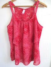 NOBO womens crochet back blouse L red tier sleeveless swing loose scoop cami top