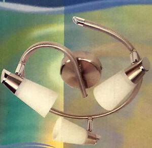 3 Head Halogen Track Spot Light Ceiling Flush mount Satin Nickel White Glass