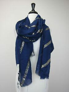 Printed Village Women's Metallic Chevron Stripe Scarf Wrap Navy  NWT