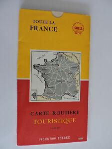 Ancienne Carte de France FOLDEX pour SHELL avec Abaque curseur table de calcul