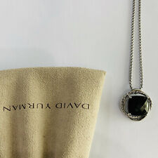 David Yurman Sterling Silver Garnet Chain Infinity Pendant Necklace Black Onyx