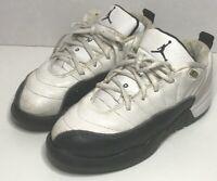 "Air Jordan Retro 12 Low Taxi Black White Size 3 Youth 308316 101 ""Damage"""
