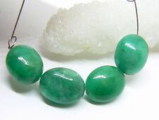 4 RARE GENUINE NATURAL SMOOTH GREEN EMERALD OVAL BEADS 21.25ct 11-11.5mm
