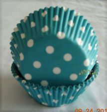 100 White Polka dot Teal Blue Cupcake liners baking paper cup muffin case 50x33