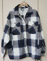 Rising Shirt Size Large Blue Checked Shacket New with tags Winter Button, Women