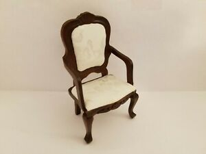 1/12th Scale Walnut Chair with Damask Covering
