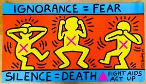 Keith Haring Original ACT UP Poster 1989 Lithograph